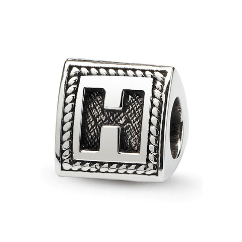 Sterling Silver Reflections Letter H Triangle Block Bead