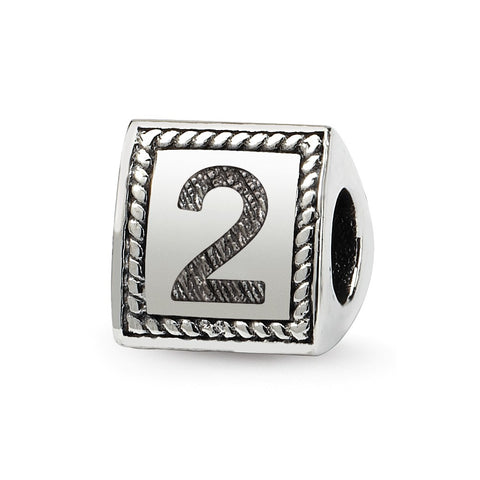 Sterling Silver Reflections Number 2 Triangle Block Bead