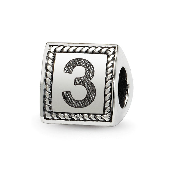 Sterling Silver Reflections Number 3 Triangle Block Bead