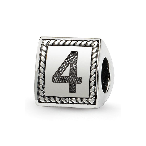 Sterling Silver Reflections Number 4 Triangle Block Bead