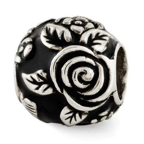 Sterling Silver Reflections Black Enameled Floral Theme Bali Bead