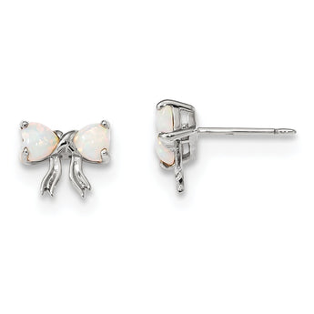 14k White Gold Polished Created Opal Bow Post Earrings