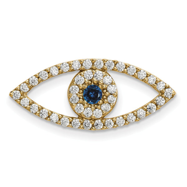 14ky Medium Diamond and Sapphire Evil Eye Pendant