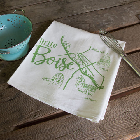 Boise Map Screen Printed Tea Towel, flour sack towel