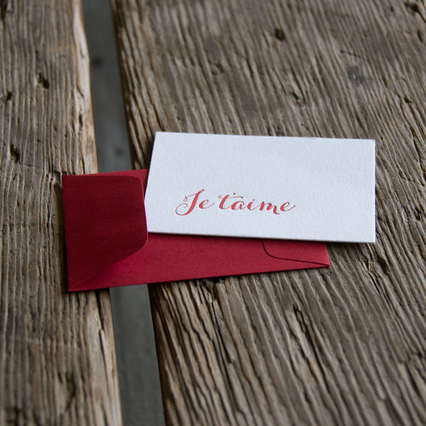 Set of 6 Mini Je t'aime notes letterpress cards, eco-friendly perfect for love of your life