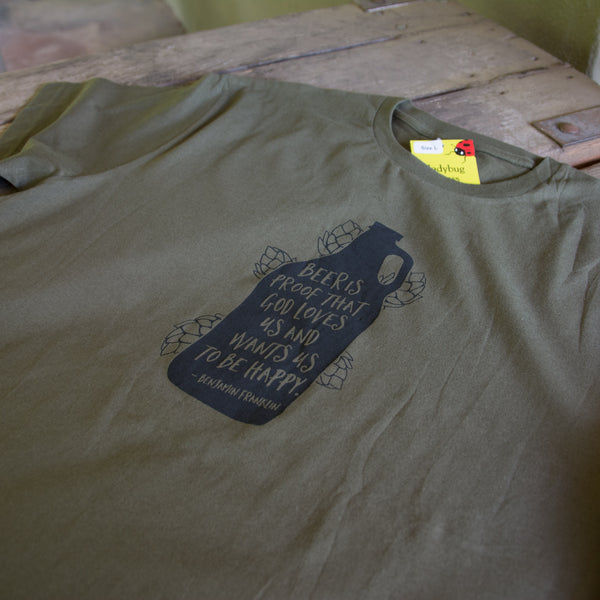 Beer Growler T-shirt, screen printed with eco-friendly waterbased inks, adult sizes