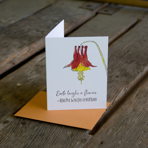 Ralph Waldo Emerson quote card, Columbine wildflower quote, letterpress printed card. Eco friendly
