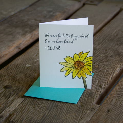 C.S. Lewis quote card, Arrowleaf Balsamroot wildflower quote, letterpress printed card. Eco friendly