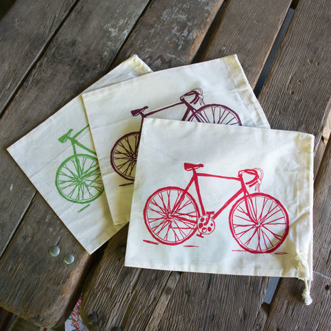 Bike Produce Bag, screen printed medium size bulk and produce bag
