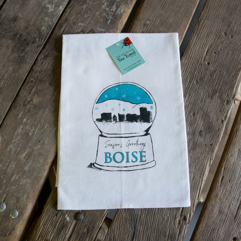 Boise Snowglobe Screen Printed Tea Towel, flour sack towel