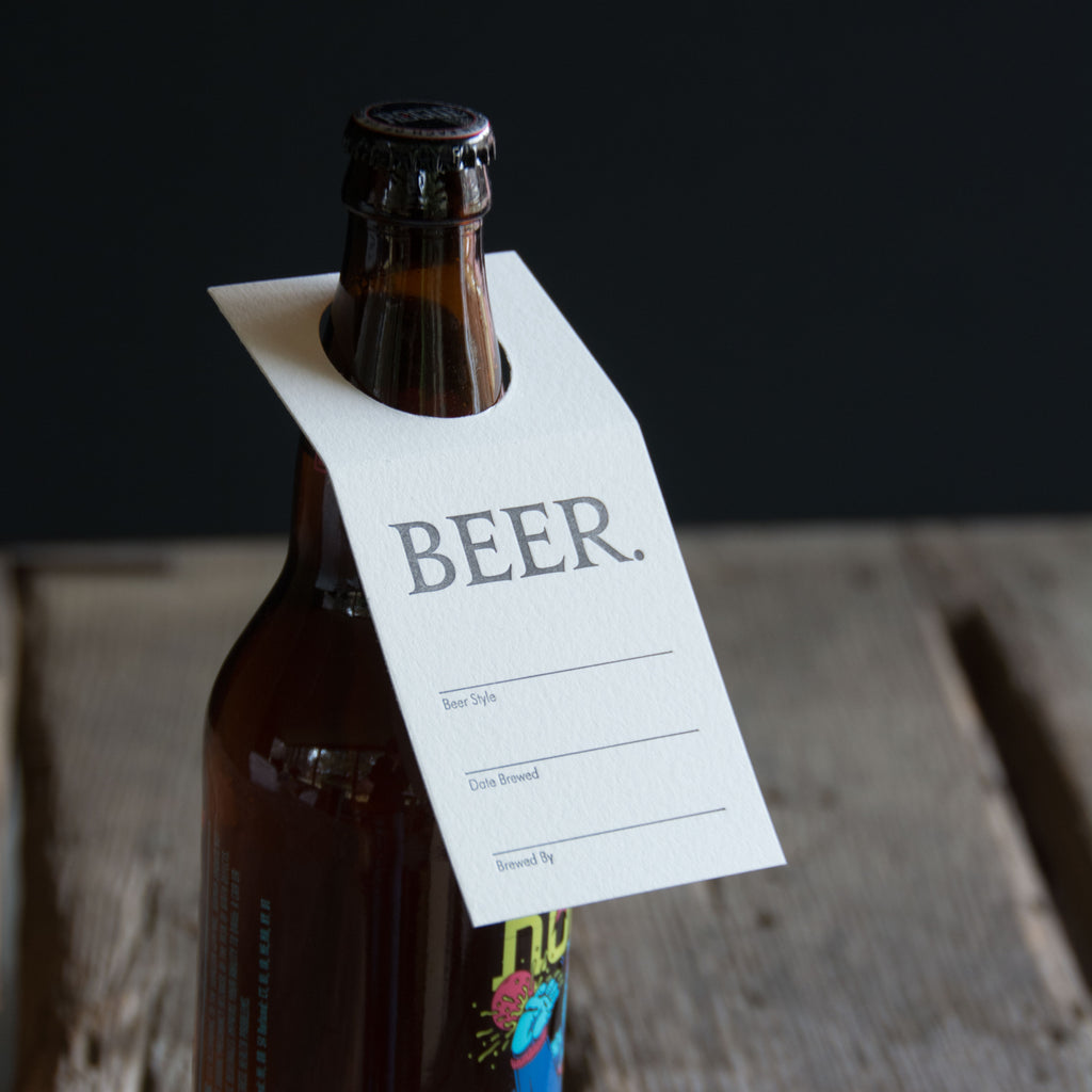 BEER tags, gift tags. Share the brew. Letterpress printed set of 6
