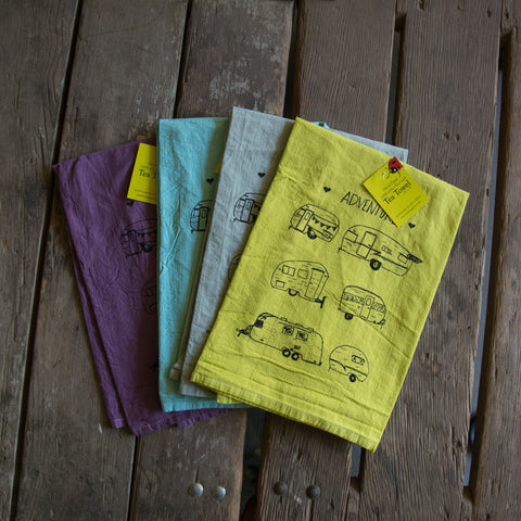 Dyed Vintage Campers Screen Printed Tea Towel, flour sack towel