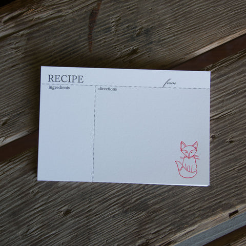 Fox Recipe Cards, modern design (Letterpress printed, 4x6 inches)