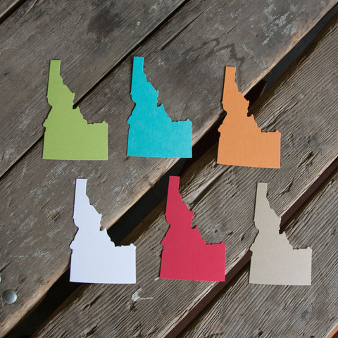 Blank Idaho shape cards, on colorful paper