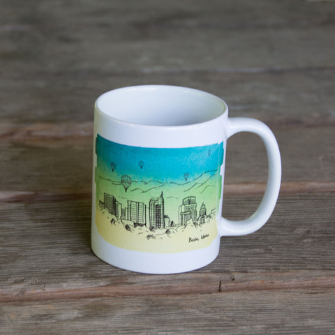 Boise Skyline MUG, watercolor