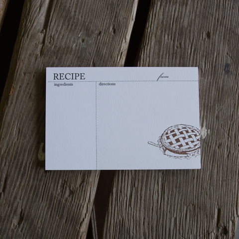 Pie RECIPE CARDS, modern design (Letterpress printed, 4x6 inches)