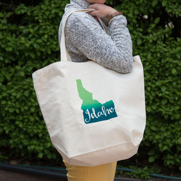 Idaho Screen Printed Tote Bag, Large heavy duty canvas bag