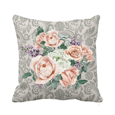 Gentle Rose Cushion Pink and Grey
