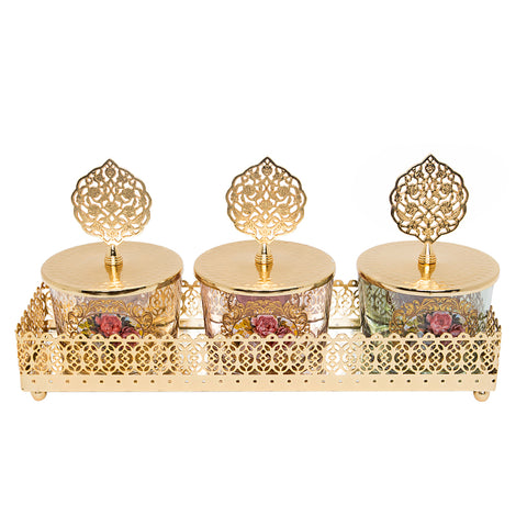 Luxurious Gold Canister Set with Gold Tray