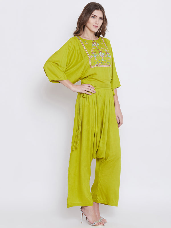 Green Elegance Embellished Top and Pant Set
