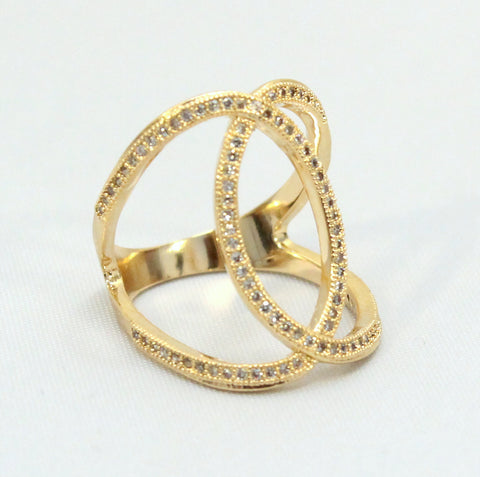 Adelaide - Gold plated and crystal ring