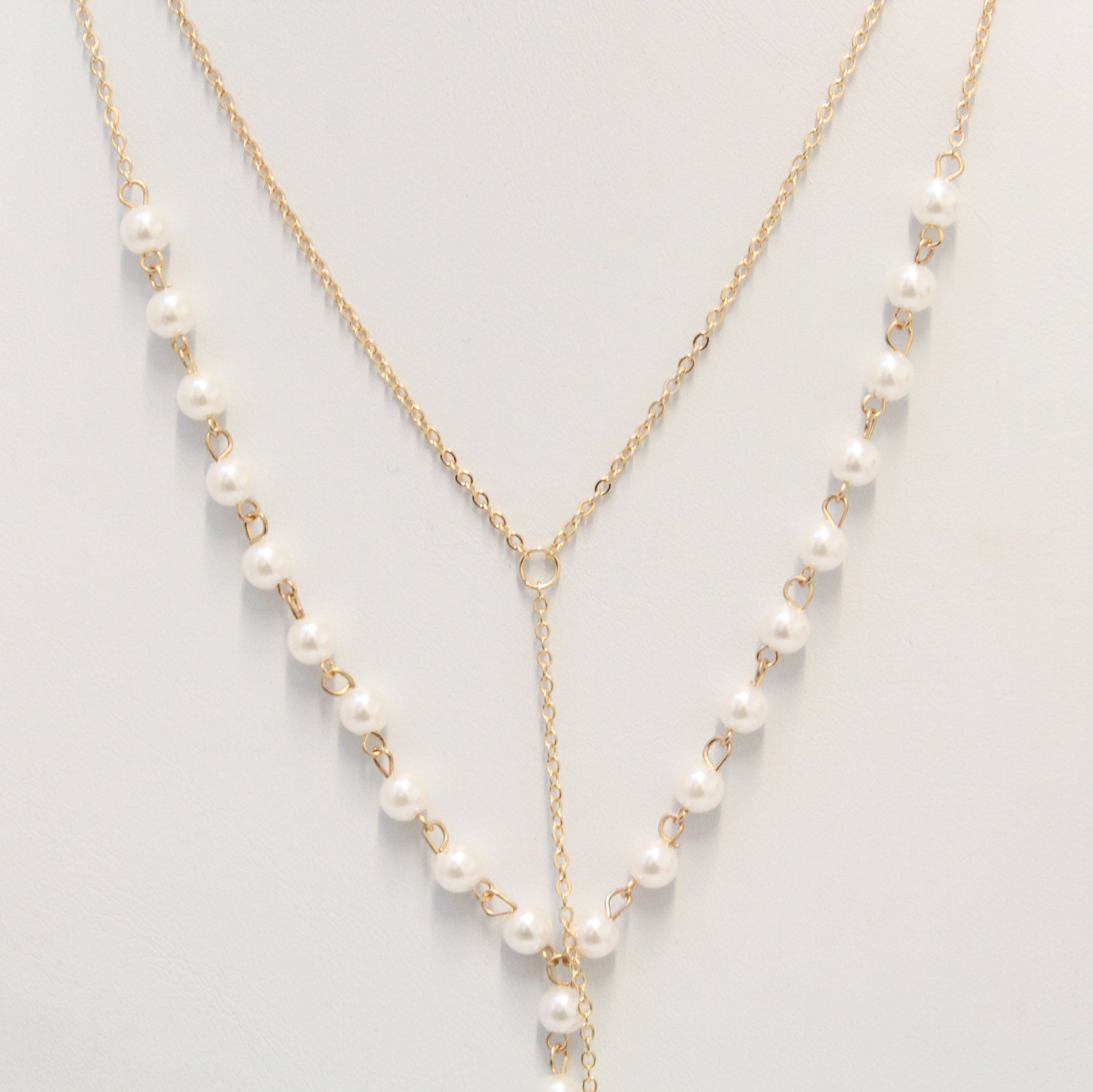 Laron - Pearl and Gold Style layered necklace