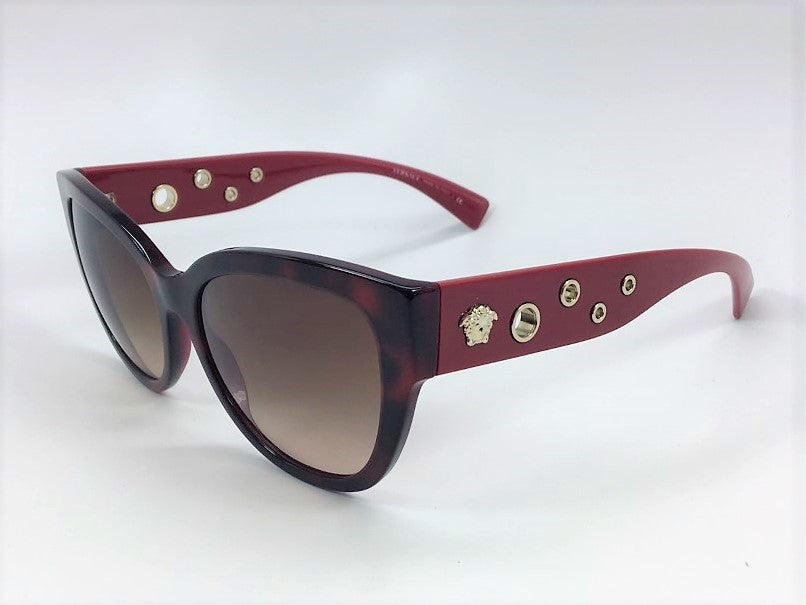 Versace VE4314 5184/13 Gloss Havana Burgundy / Brown Gradient 56mm Sunglasses