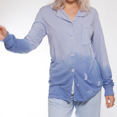 Long Sleeve Hand Dyed Blue Starry Pajama Top - M