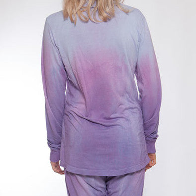 Long Sleeve Hand Dyed Blue & Purple Pajama Top - M