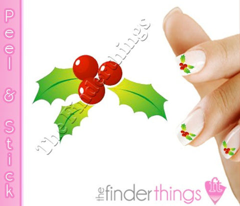 Christmas Mistletoe and Holly Nail Art Decal Sticker Set - The FinderThings
