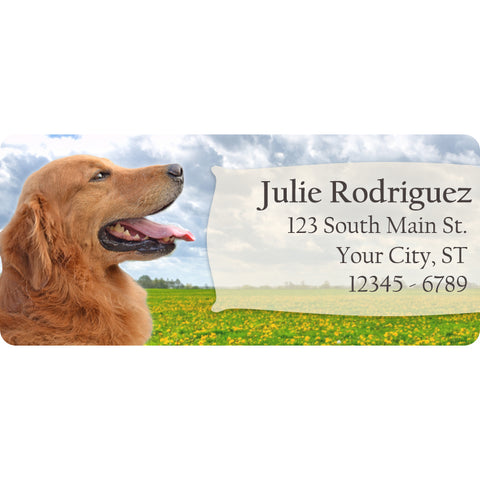 Golden Retriever Dog Puppy Lab Personalized Return Address Labels - The FinderThings