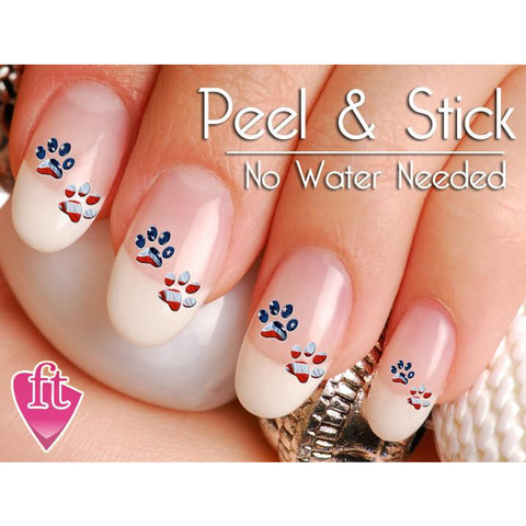 American Flag Paw Print Nail Art Decal Sticker Set - The FinderThings