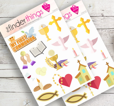 First Holy Communion Stickers for Scrapbook, Planners, Diary, Crafts and Fun Catholic - The FinderThings