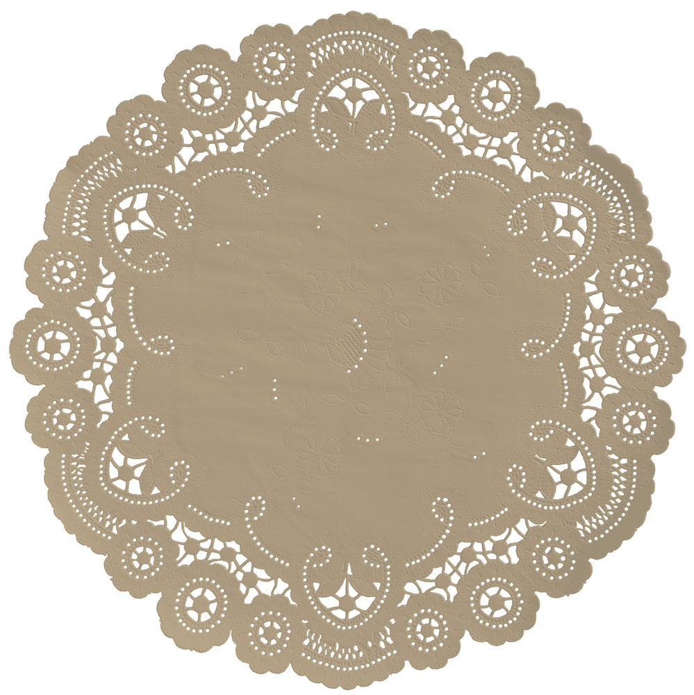 "Almond color paper doilies available in the delicate French lace style and in sizes ranging from 4"" to 12"""