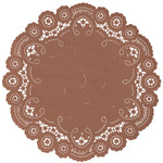 "Autumn brown color paper doilies available in the delicate French lace style and in sizes ranging from 4"" to 12"""