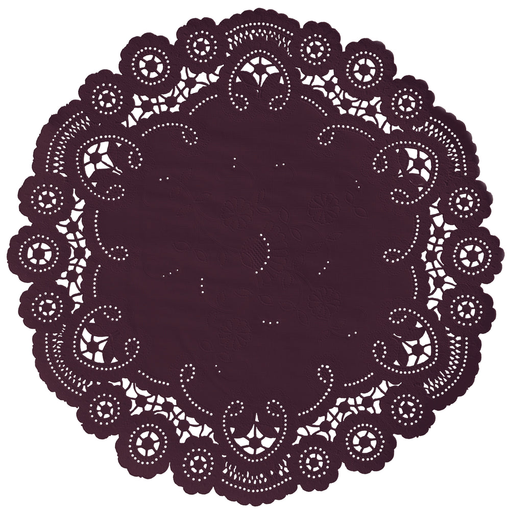 "Berry Burgundy color paper doilies available in the delicate French lace style and in sizes ranging from 4"" to 12"""