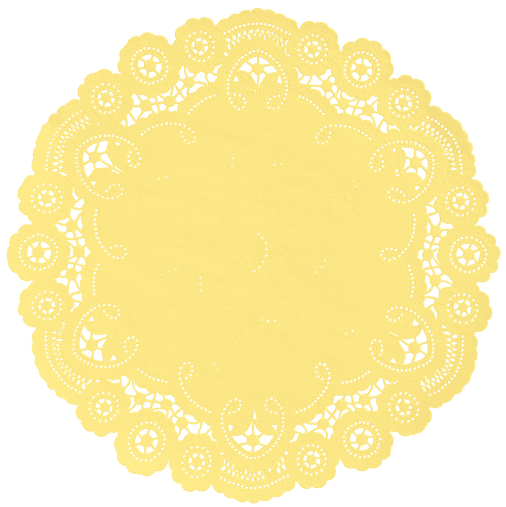 "Butter yellow color paper doilies available in the delicate French lace style and in sizes ranging from 4"" to 12"""