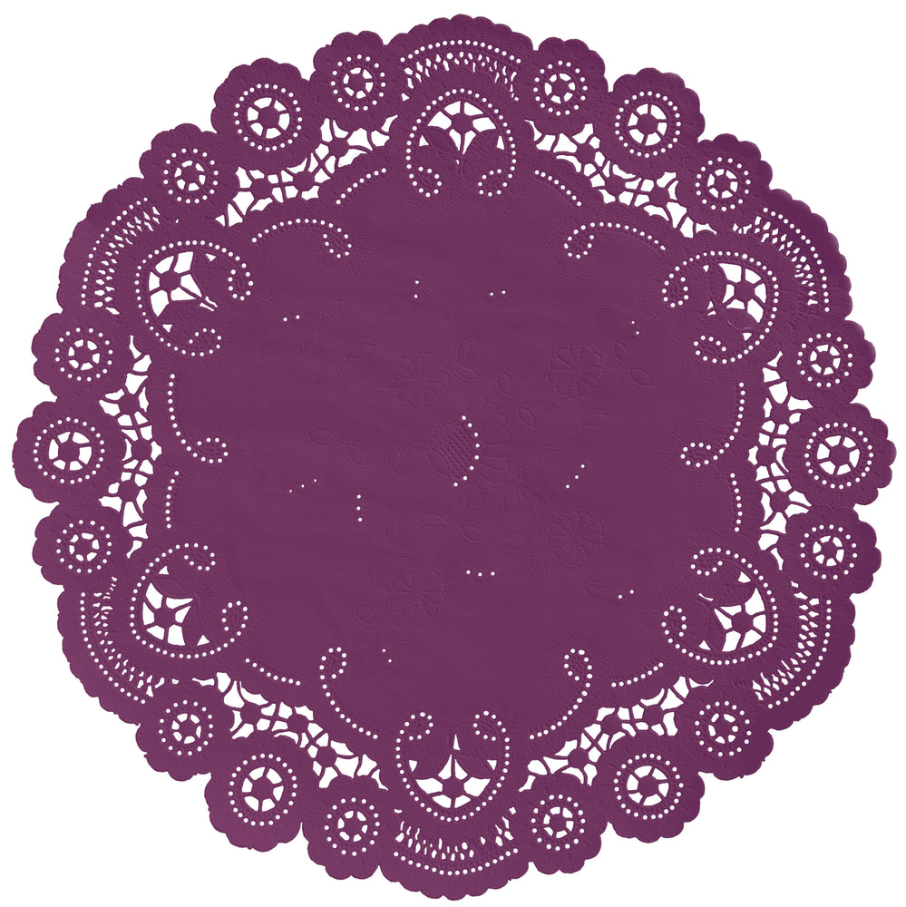 "Cassis plum color paper doilies available in the delicate French lace style and in sizes ranging from 4"" to 12"""