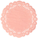 "Coral pink color paper doilies available in the delicate French lace style and in sizes ranging from 4"" to 12"""