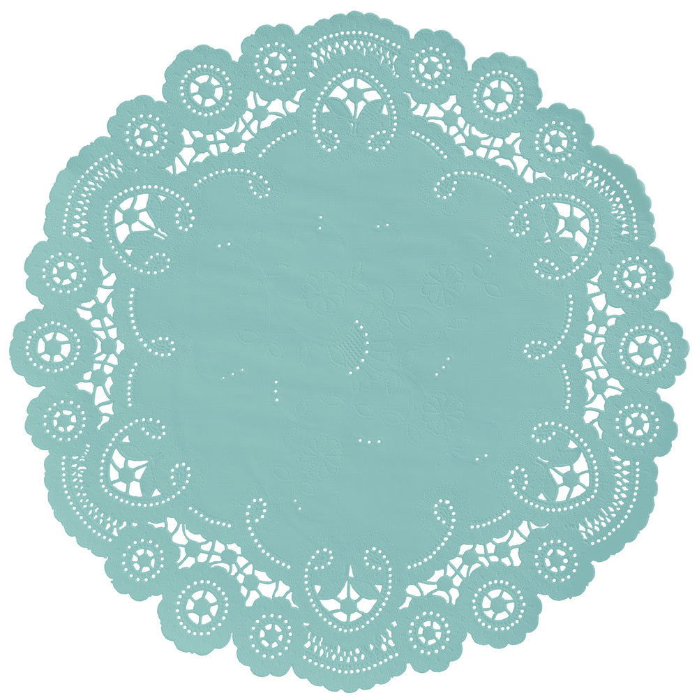 "Dusty aqua color paper doilies available in the delicate French lace style and in sizes ranging from 4"" to 12"""