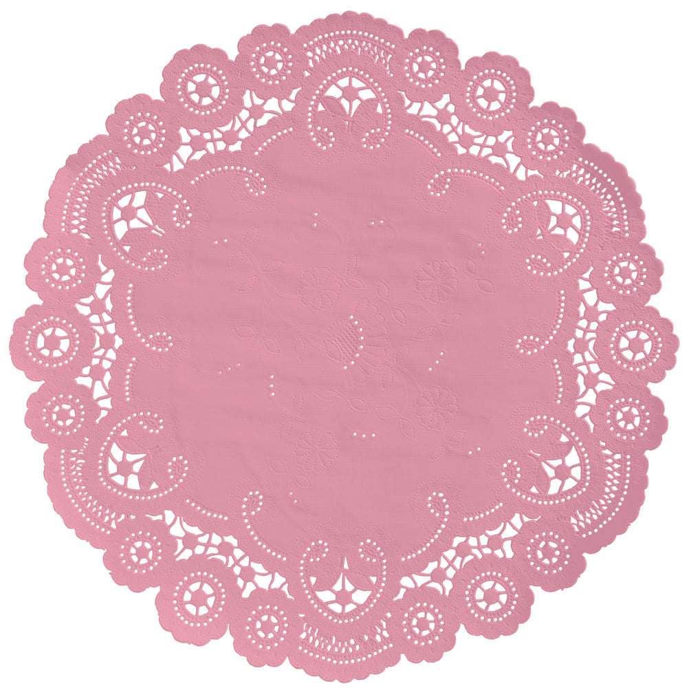 "Flamingo pink color paper doilies available in the delicate French lace style and in sizes ranging from 4"" to 12"""
