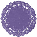 "Grape color paper doilies available in the delicate French lace style and in sizes ranging from 4"" to 12"""