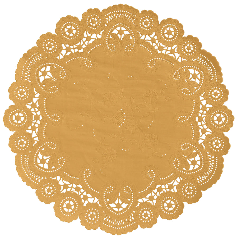 "Honey gold color paper doilies available in the delicate French lace style and in sizes ranging from 4"" to 12"""