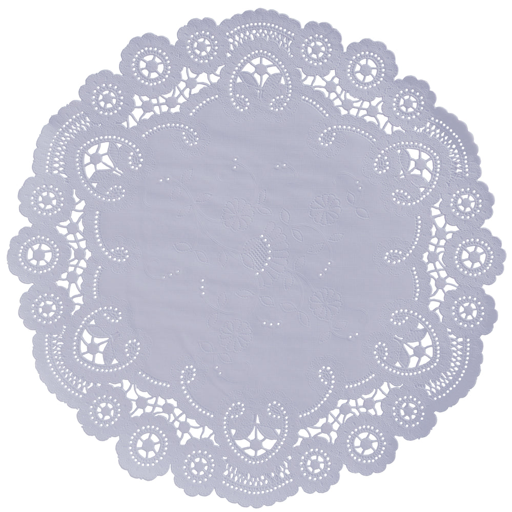 "Lilac mist color paper doilies available in the delicate French lace style and in sizes ranging from 4"" to 12"""