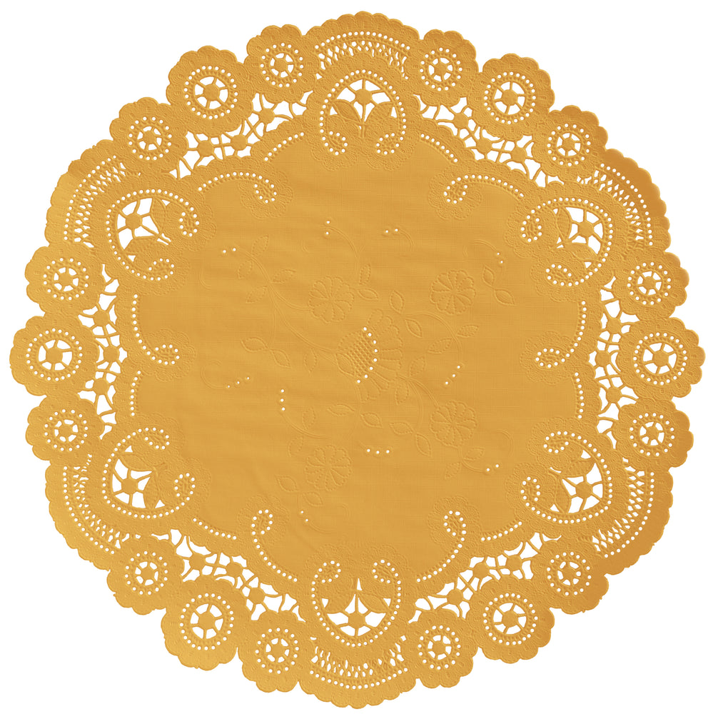 "Marigold color paper doilies available in the delicate French lace style and in sizes ranging from 4"" to 12"""