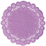 "Orchid color paper doilies available in the delicate French lace style and in sizes ranging from 4"" to 12"""