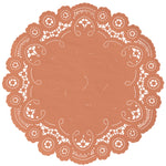 "Peach bellini color paper doilies available in the delicate French lace style and in sizes ranging from 4"" to 12"""