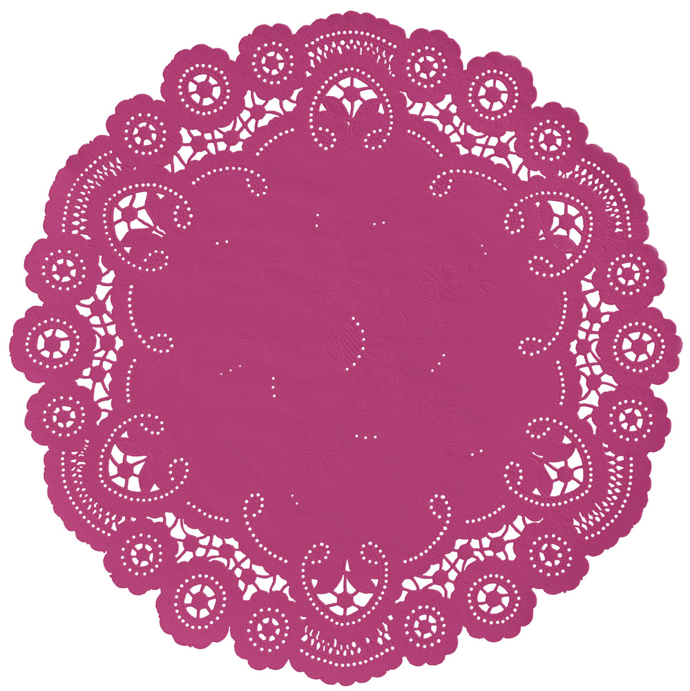 "Raspberry sorbet color paper doilies available in the delicate French lace style and in sizes ranging from 4"" to 12"""