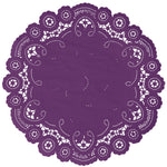 "Royal plum color paper doilies available in the delicate French lace style and in sizes ranging from 4"" to 12"""