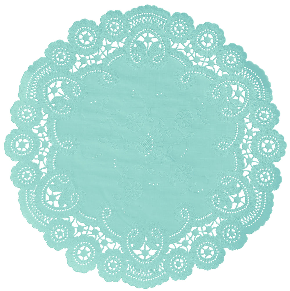"Seafoam color paper doilies available in the delicate French lace style and in sizes ranging from 4"" to 12"""